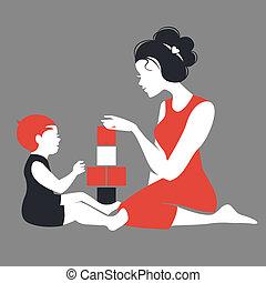 madre, silhouette, gioco, bello, toys., bambino, felice, giorno, madre