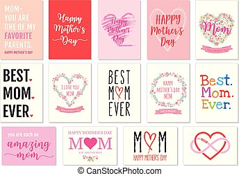madre, vettore, set, cartelle, giorno
