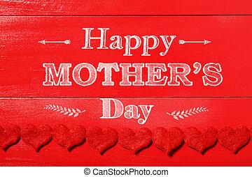 madri, feltro, cuori, messaggio, giorno, rosso, felice