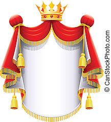 maestoso, corona, reale, oro, mantello