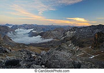 maestoso, mountain view, crepuscolo