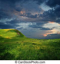 maestoso, nubi, bordo, altopiano, cielo, montagna