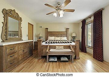 maestro, mobilia, legno, quercia, camera letto
