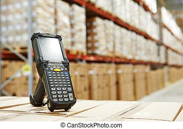 magazzino, barcode, scanner