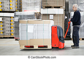 magazzino, caricato, lavoratore, handtruck