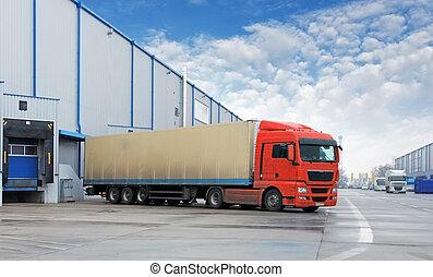 magazzino, carico, -, trasporto, camion
