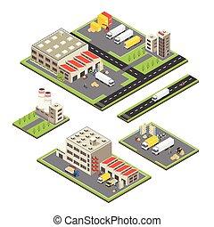magazzino, territori, isometrico, set