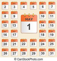 maggio, calendario, set, icone