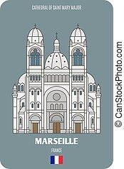 maggiore, cattedrale, marseille, mary, francia, santo