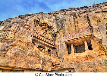 maggiore, caverna, unesco, buddista, india, luogo, maharashtra, ellora, caves., preghiera, eredità, mondo, vishvakarma, salone