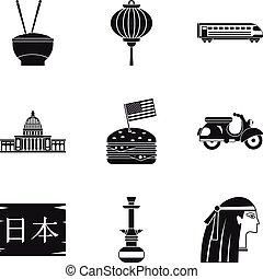 maggiore, icone, set, stile, religione, semplice