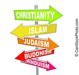 maggiore, religioni, cinque, freccia, segni, mondo