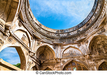 maggiore, turista, -, parco, champaner-pavagadh, jami, attrazione, archeologico, gujarat, india, masjid
