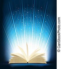 magia, aperto, light., vettore, libro, illustration.