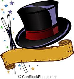 magia, cappello, cima, illustrazione, tema, vettore, bandiera