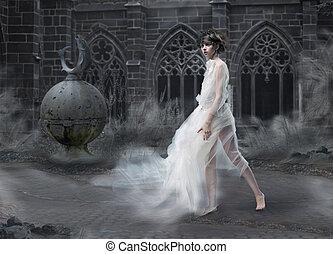 magia, donna, silhouette, scenico, fumoso, mystery., antico, mistico, vecchio, castle.