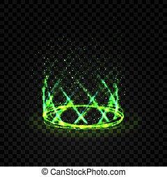 magia, futuristico, verde, sfondo scuro, portale, o, teleport