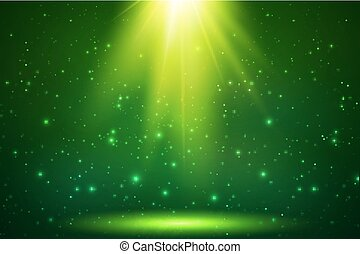 magia, luce, cima, vettore, sfondo verde