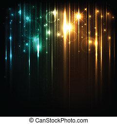 magia, stelle, luci, luminoso, vettore, fondo