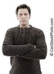 maglione, crossed., isolato, woolen, uomo, braccia, white.