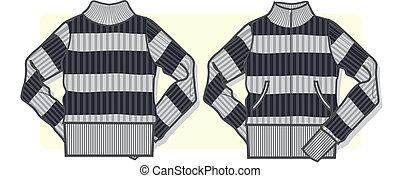 maglione, signora, zip-up