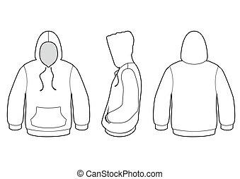 maglione, vettore, incappucciato, illustration.