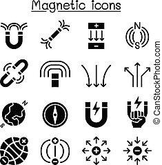 magnete, set, icona
