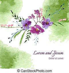 magnolia, acquarello, illustrazione, fiori