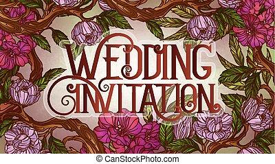 magnolia, matrimonio, sakura, sagoma, invito, decorato, fiori, scheda
