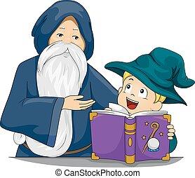 mago, insegnante, capretto, ragazzo, libro