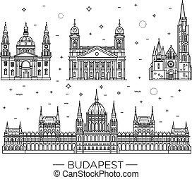 magro, punto di riferimento, storico, linea, costruzioni, set, viaggiare, icona, ungherese