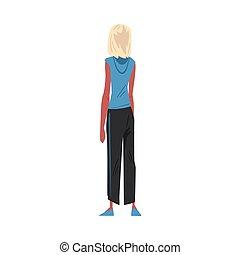 magro, stile, donna, cartone animato, qualcosa, giovane, dietro, osservato, il portare, casuale, dall'aspetto, biondo, vettore, vista, ragazza, indietro, illustrazione, vestiti