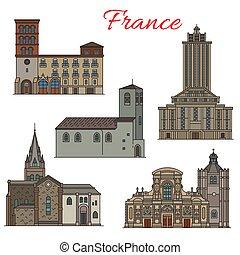 magro, viaggiare, francese, architettura, punto di riferimento, linea, icona