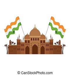 mahal, famoso, monumento, india, taj, bandiere