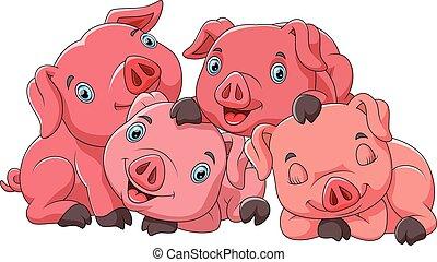 maiale, carino, famiglia, cartone animato