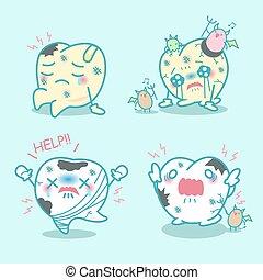 mal di denti, cartone animato, possedere, denti