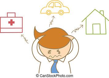 mal di testa, circa, spesa, affari, automobile, carattere, salute, casa, debito, cartone animato, cura, uomo