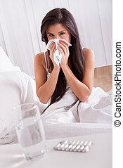 malato, donna, influenza, freddo, letto