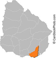 maldonado, mappa, evidenziato, uruguay