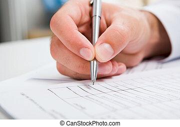 male?s, documento, scrittura mano