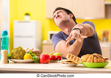 malsano, sano, duro, scelta, cibo, fra, detenere, uomo