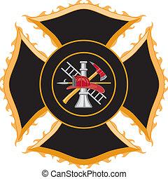 maltese, simbolo, pompiere, croce