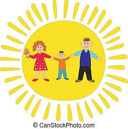 mamma, figlio, felice, papà, family: