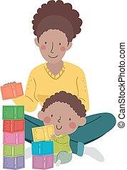 mamma, illustrazione, bambino, capretto, blocchi, costruzione, ragazzo