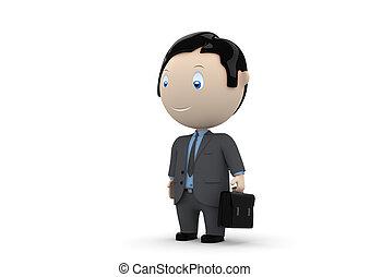 manager., sociale, caratteri, 3d