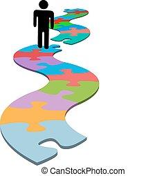 mancante, puzzle, trovare, problema, pezzo, persona, soluzione