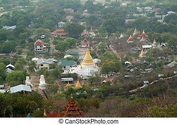 mandalay, myanmar., cima, myanma, tempio, vista