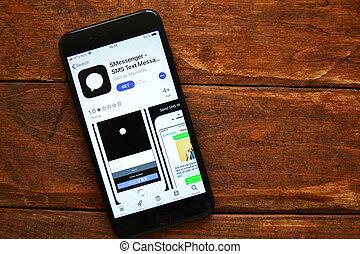 mandare, domanda, smartphone, messaggio, mobile, tavola, telefono