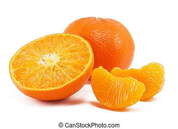 mandarino, fresco, bianco, isolato, fondo