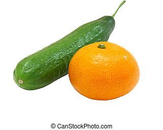 mandarino, fresco, cetriolo, verde